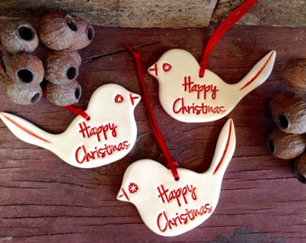 Handmade Christmas Decorations - Set of Three, Red and White Happy Christmas Wrens