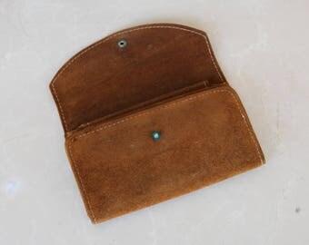 Vintage Brown Suede Checkbook Wallet Made in Brazil