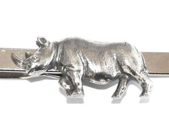 Rhinoceros Tie Clip (slide) in Fine English Pewter, Gift Boxed, Wildlife, Rhino