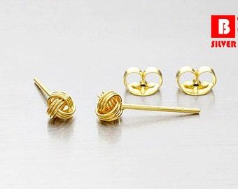 925 Sterling Silver Earrings, Gold Plated Earrings, Knot Earrings, Stud Earrings, Size 4 mm (Code : E36AG)