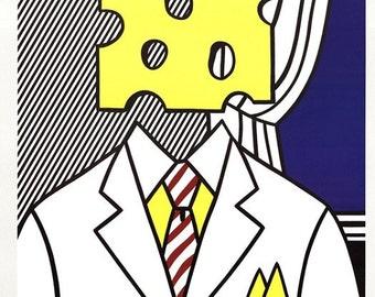 ROY LICHTENSTEIN - 'Jobs not cheese!' - rare hand signed original vintage poster - c1982 (Andy Warhol interest. Rolex)