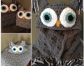 """Crocheted Hooded owl blanket, Viral Owl blanket, Owl pillow, """"MJs off the hook"""" quick and thick hooded owl blanket"""