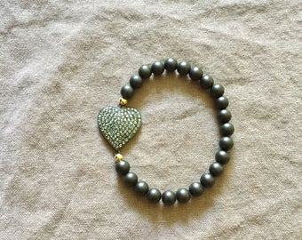 Ebony Stretch Bracelet with Pave Diamond Heart