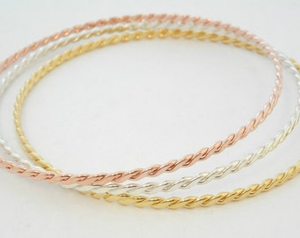 14 K. Solid Gold(Not Hollow) Thick Double Twisted Stacking Bangle Bracelet