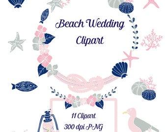 Beach Wedding Clipart ~ Illustrations ~ Creative Market  Ocean Wedding Clipart