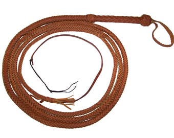 16 Foot 10 Plait TAN Bullwhip INDIANA Jones Style Real Leather BULLWHIP Bull Whip with nylon popper