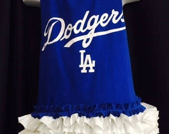 Dodgers Baseball T-back T-shirt dress with matching ruffle shorts - Perferct for all your little Dodgers fans, Dodger birthdays, photo Sz4-6