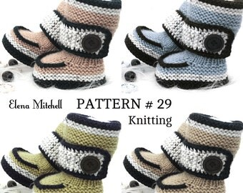 Knitting PATTERN Baby Booties Baby Shoes Knitted Baby Uggs Baby Girl Booty Pattern Only Newborn Infant Booties 0 - 18 months PATTERN ( PDF )