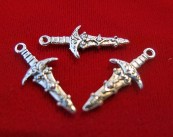 "BULK! 30pc ""sword"" charms in antique silver style (BC184B)"