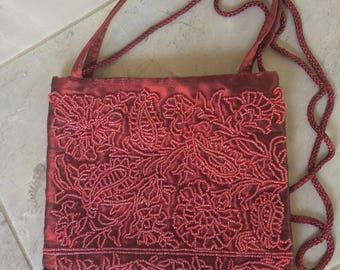 Vintage La Regale Deep Red Beaded Evening Bag