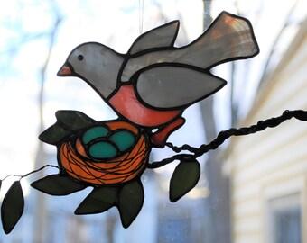 Robin Tending Her Nest of Eggs-  Hand Made Stained Glass Suncatcher