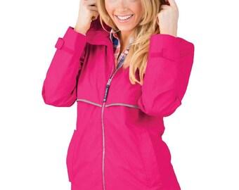 Monogrammed Rain Jacket, Monogrammed Rainjacket, Monogrammed Raincoat - Dark Pink