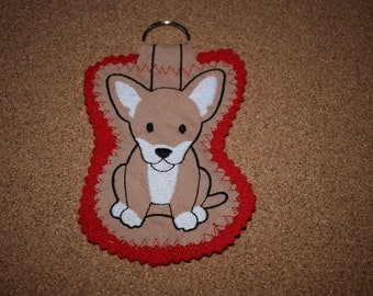 Chihuahua Keyring, Chihuahua Gift, Chihuahua, Dog Keyring, Chihuahua Dog, Handmade Keyring, Dog Gift, Keyring, Fabric Keyring, Chihuahua Dog