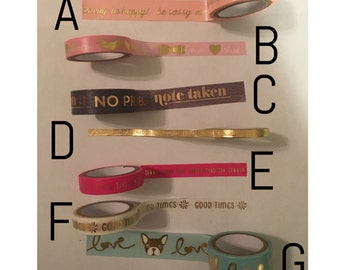 Washi Tape Sample: Gold Foil Quote #3
