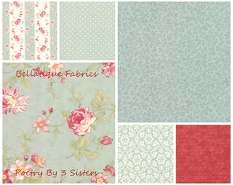 3 Sisters POETRY Fat Quarters 6 (fq's) in the Mist Color Palette For Moda Fabric
