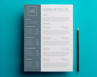Resume Template & Cover Letter Template, CV Template w/Business Card Template - Modern Resume w Skills Word Document Template A4, US Letter