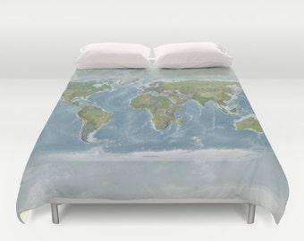 World Map Duvet Cover - bed - modern map, blue, green, bedroom, travel decor, cozy soft, warm, wanderlust, atlas, geography