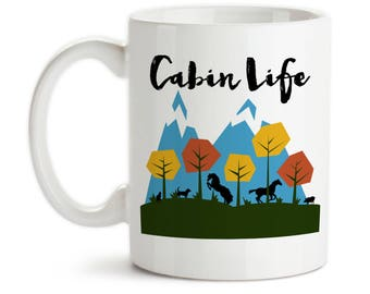 Coffee Mug, Cabin Life Mountain Scenic Art Off The Grid Cabin Gifts Cabin Theme Cabin Mug Rustic Living, Gift Idea, Large Coffee Cup