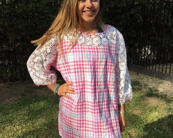 Pink linen dress, white lace, XL, X XL, pink, blue, white, lace