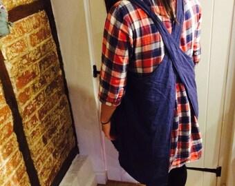 Blue cotton Japanese apron - dress layering - pinafore petticoat