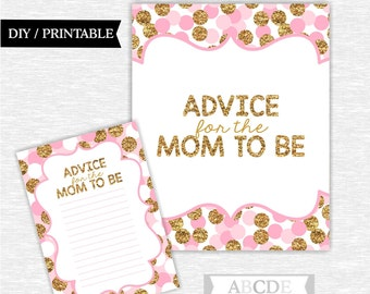 Instant Download Pink Glitter Gold Polka Dots Girl Baby shower, Advice for the Mom to be Cards DIY Printable (SWGL004)
