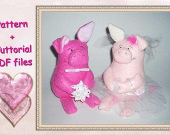 PDF Pattern, Pattern + Tutorial, step by step, instructions,Pattern, Plush,Toy, Stuffed Toy Pattern,Pig Pattern, Staffed Pigs, Plush Pattern