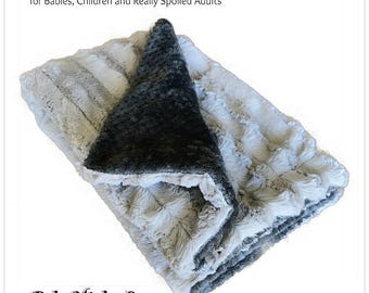 Worlds Softest Minky Cuddle Fur Blanket - Reversible Soft Gray Striped Minky With Off Charcoal Waffle Minky Cuddle Fur All Sizes and Colors