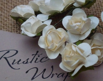 12 Ivory coloured Mulberry Paper Tea Rose Flower 20mm,