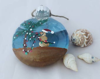 Beach themed Snowman Christmas Ornament- Hand painted glass ornament- Beach Giftt- Palm Tree Ornament- Coastal Holiday Decor- Sand-snow-man