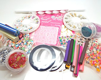 Nail Art Kit, Metal Studs, Striping Tape, Glitter Pots, Nail Decals, Microbeads, Canes & Slices, Pick Up Pencil, Dotting Tool, UK Seller