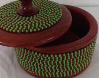 ON SALE ! Orula Orunmila Beaded Wooden Pot, Ikofa, Awofaka