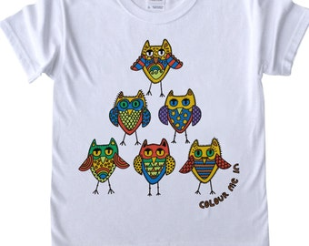 T shirt to Colour in Owls Pyramid Design Doodle Colouring in Art Fabric Pens Tee Shirts Fun Activity for Girls Kids Colour in fun fabric