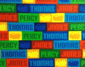 One Half Yard of Fabric Material - Thomas Train Names
