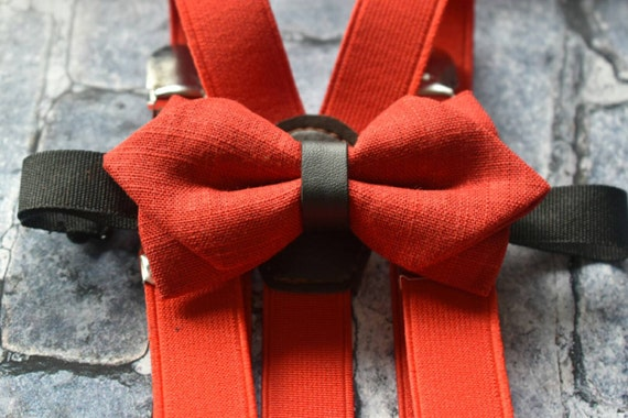 Festive Red Diamond Point Bow Tie  for Baby, Toddlers and Boys (Kids Bow Ties) with Braces/ Suspenders
