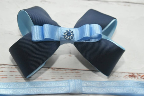 Navy and sky blue bow - Baby / Toddler / Girls / Kids Elastic Hairclip / Hair Barrette / Hairband / Headband