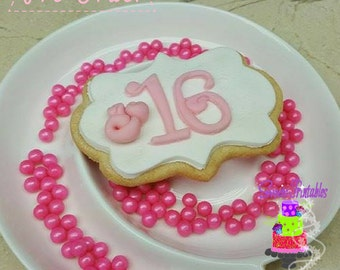 """Sweet Sixteen Sugar Cookies  3""""- 12 Sugar Cookies Decorated With Marshmallow Fondant-Party Favors"""