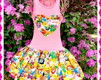 emoji dress girls emoji 2T 3T 4T 5T 4/5 6/6X 7/8 10/12 14/16 ready to ship
