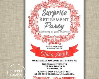Surprise Retirement Invitation Red and Gray Farewell Celebration Invite Womans Elegant Party Printable Invite 5x7 Digital JPG File 355