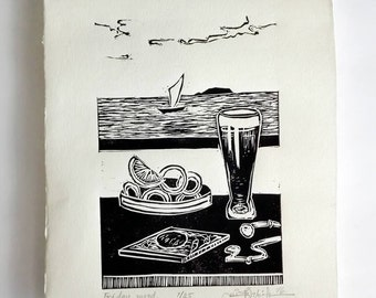 FREE SHIPPING Worldwide, Original Linocut Handmade Print, Limited edition, Friday mood, beer, seafood, seascape, wall decor, hand pulled