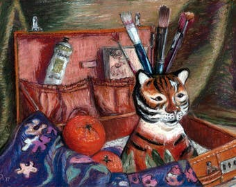 """Original Pastel Painting, FREE SHIPPING Worldwide, 11"""" x 8"""",  Tiger mug with Oranges, Still-Life, Wall Decor, Home decor, new home gift, art"""