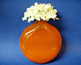 BLOWN GLASS VASE Wall Pocket Rooter Retro Orange Accent