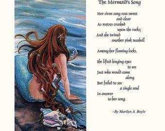 THE MERMAID'S SONG; original poem, original art, print, 8.5 x 11 inches, certificate frame size, wall art