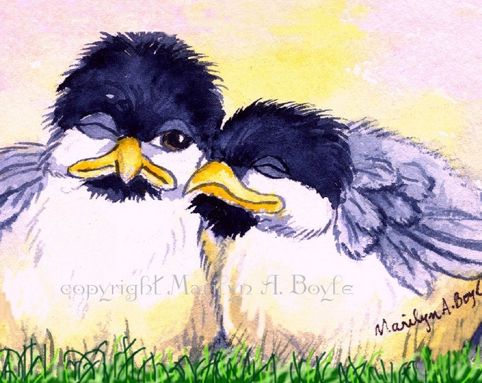 LIMITED EDITION ACEO Card; limited edition run of only 15, baby chickadees, 2.5 x 3.5 inches, nature, wings, feathers,