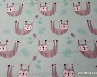 Flannel Fabric - Happy Sloth - 1 yard - 100% Cotton Flannel