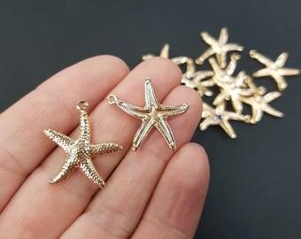 Starfish Non Tarnish Charm - Gold