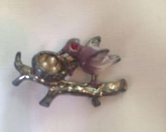 Vintage enamel bird and nest brooch