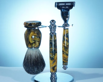Shaving Kit with Stand, Old Fashion Shave Sets, Men's Gift, Christmas Gift, Acrylic Yellow and Black, Shave Brush and Razor