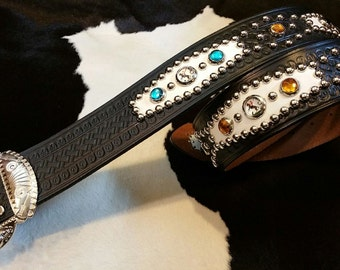 No.300 Handmade Vintage Reproduction Studded Jeweled Cowboy Western Belt