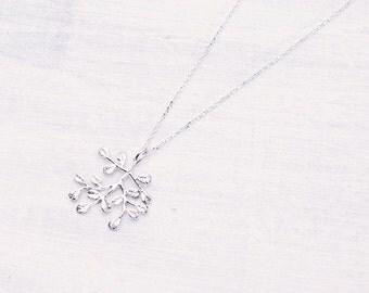 Silvered leaf necklace