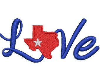 I love Texas Embroidery Design, Texas Embroidery Digitizing,